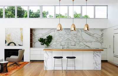 image 6, 3 brass lamops,Marble-kitchen-backsplash-contemporary-home