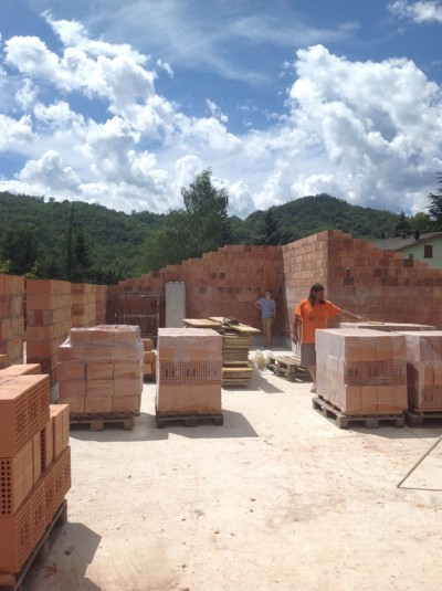 The first floor external walls going up.