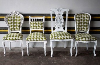 Mismatched-dining-room-chairs-painted-white-and-reupholstered-with-matching-green-houndstooth-pattern